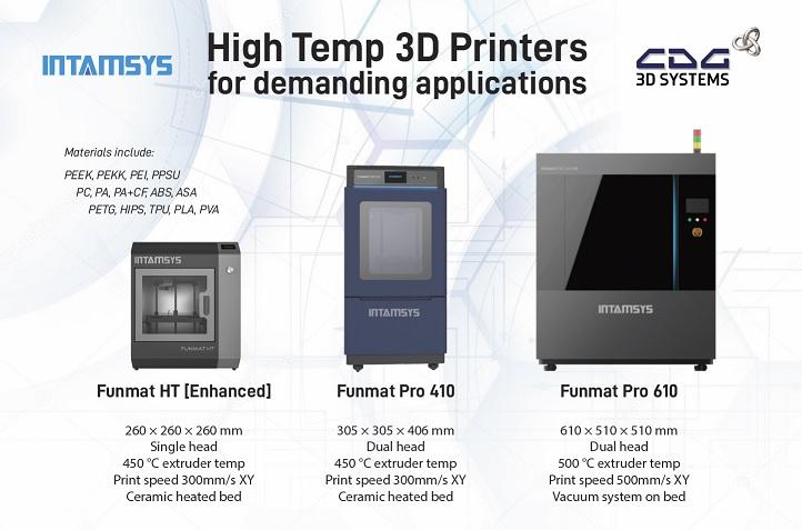 Funmat Pro 610, 410, HT 3D printers
